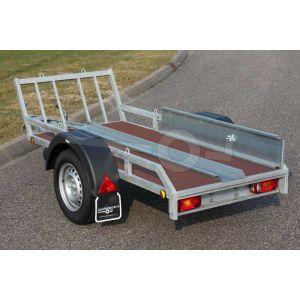 Verhuur motortrailer voor 1 motor, vloerafmeting 225x100 netto laadvermogen 500kg, (B rijbewijs), extra dag