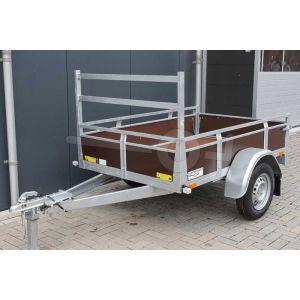 Twins Trailers open aanhangwagen bruin betonplex enkelas 200x132cm 750kg ongeremd