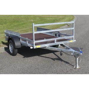 """Transporter voor kleine voertuigen 257x157 (lxb bak), 750kg bruto (540 netto) laadvloerhoogte 54cm, vlakke vloer met railing, banden 13"""", enkelas"""