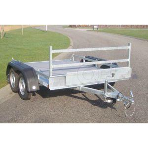 """Transporter voor kleine voertuigen 257x157 (lxb bak), (2x) 750kg bruto (470 netto) laadvloerhoogte 54cm, vlakke vloer met railing, banden 13"""", tandemas"""