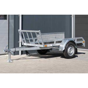 """Motortrailer voor 1 motor 220x100 (lxb bak), 750kg bruto  (615 netto) laadvloerhoogte 54cm, vlakke vloer met railing, banden 13"""", enkelas"""