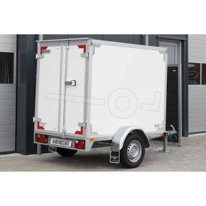 Twins Trailers gesloten aanhangwagen, afmeting 200x132x150 cm, met twee achterdeuren, ongeremde enkelasser, bruto laadvermogen 750kg.