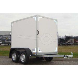 """gesloten aanhangwagen, 200x132x150 (lxbxh), (2x) 750kg bruto (425 netto),witte plywood wanden en 2 deuren achter, vloerhoogte 55cm, banden 13"""", tandemas"""