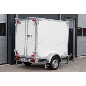 Enkelas gesloten aanhangwagen, afmeting 257x132x180 cm, merk Twins Trailers, met twee achterdeuren, bruto laadvermogen 1500kg.