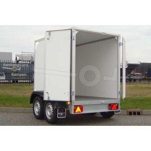"""gesloten aanhangwagen, 257x132x150 (lxbxh), 2000kg bruto (1505 netto),witte plywood wanden en 2 deuren achter, vloerhoogte 55cm, banden 13"""", tandemas"""