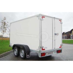 """gesloten aanhangwagen, 257x132x180 (lxbxh), 2700kg bruto (2115 netto),witte plywood wanden en 2 deuren achter, vloerhoogte 55cm, banden 13"""", tandemas"""