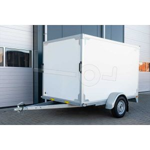 Gesloten aanhangwagen ongeremde enkelasser, merk Twins Trailers, afmeting 257x157x150 cm, met twee achterdeuren, bruto laadvermogen 750kg.