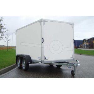 """gesloten aanhangwagen, 257x157x150 (lxbxh), (2x) 750kg bruto (390 netto),witte plywood wanden en 2 deuren achter, vloerhoogte 55cm, banden 13"""", tandemas"""