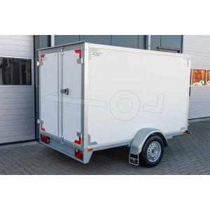"""gesloten aanhangwagen, 257x157x150 (lxbxh), 1500kg bruto (1110 netto),witte plywood wanden en 2 deuren achter, vloerhoogte 55cm, banden 13"""", enkelas"""