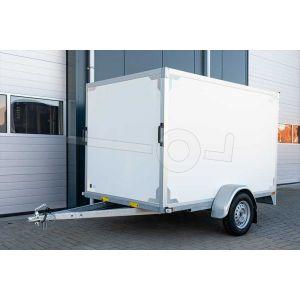 Gesloten aanhangwagen 257x132x150 cm, Twins Trailers, ongeremde enkelasser, bruto laadvermogen 750kg, witte plywood wanden met 2 achterdeuren.