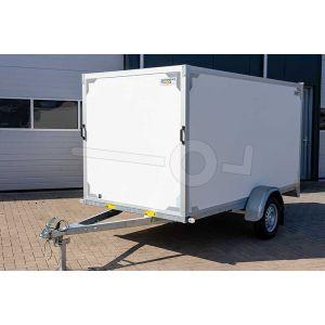 """gesloten aanhangwagen, 307x157x150 (lxbxh), 750kg bruto (410 netto),witte plywood wanden en 2 deuren achter, vloerhoogte 55cm, banden 13"""", enkelas"""