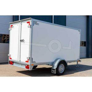 """gesloten aanhangwagen, 307x157x180 (lxbxh), 1350kg bruto (890 netto),witte plywood wanden en 2 deuren achter, vloerhoogte 55cm, banden 13"""", enkelas"""