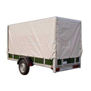 Huif compleet met frame 150cm hoog vanaf laadvloer, voor Twins Trailers bakwagen,225x132, grijs,  ongemonteerd