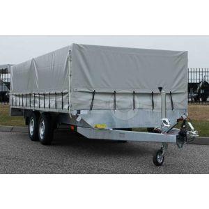 Lesaanhangwagen met huif conform CBR eisen, 451x187cm (lxb bak), 1751kg bruto, 180cm hoog vanaf de grond, tandemas