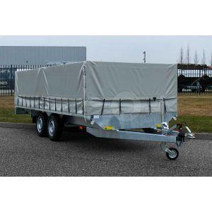 Lesaanhangwagen IZI Trailer, totale afmetingen 601x187x200cm (lxbxh) met grijze huif.