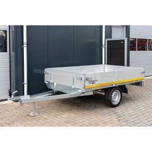 Eduard ongeremde enkelasser plateauwagen 2014-1-PB30-075-63, afmeting 200x145cm met 30cm aluminium borden, bruto laadvermogen 750kg, laadvloerhoogte 63cm, bandenmaat 195/50R13