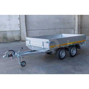 Ongeremde tandemasser Eduard plateauwagen 250x145cm met een bruto laadvermogen van 740 en een laadvloerhoogte van 72cm.