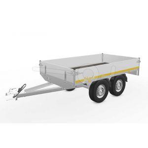 Eduard plateauwagen 2514-4-PB30-100-72, Lxb 250x145cm, Bruto 1000kg (606kg netto), Lvh 72cm, Alu borden 30cm, Tandemas geremd, Banden 155R13.