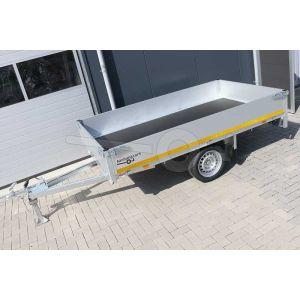 Eduard enkelas ongeremde plateauwagen afmeting 260x150cm met 30cm borden, bruto laadvermogen 750kg, laadvloerhoogte 63cm
