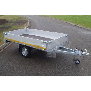 Eduard enkelas plateauwagen afmeting 260x150cm met 30cm borden, bruto laadvermogen 750kg ongeremd, laadvloerhoogte 72cm