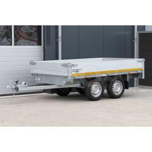 Eduard plateauwagen afmeting 260x150cm met 30cm borden, tandemas ongeremd, bruto laadvermogen 750kg, laadvloerhoogte 72cm