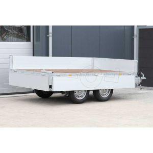 Geopende borden van de laadbak op een Eduard plateauwagen afmeting 260x150cm met 40cm borden, bruto laadvermogen 750kg ongeremd, laadvloerhoogte 63cm