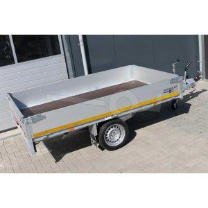 Enkelas plateauwagen Eduard afmeting 260x150cm met 30cm borden, afmeting 260x150cm, bruto laadvermogen 1000kg, laadvloerhoogte 63cm