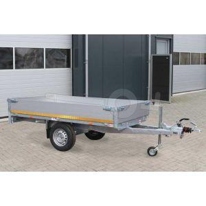 Eduard enkelas plateauwagen afmeting 260x150cm met 30cm borden, bruto laadvermogen 1000kg en laadvloerhoogte 72cm