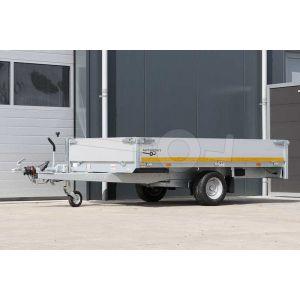 Eduard enkelas plateauwagen met 30cm borden, afmeting 260x150cm, laadvloerhoogte 56cm en bruto laadvermogen 1500kg
