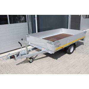 Eduard enkelas plateauwagen afmeting 260x150cm met 30cm borden, bruto laadvermogen 1350kg, laadvloerhoogte 56cm