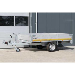 Eduard enkelas plateauwagen afmeting 260x150cm met 30cm borden, bruto laadvermogen 1500kg, laadvloerhoogte 63cm.