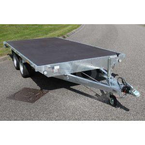 Eduard tandemas vlakke plateauwagen zonder borden, afmeting 260x150 cm, bruto laadvermogen 2000kg en laadvloerhoogte 56cm