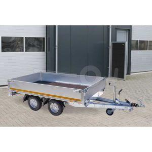 Plateauwagen 260x150, bruto 2000kg (1586 netto), laadvloerhoogte 56cm, 30 cm aluminium borden, banden 145/80R10, tandemas