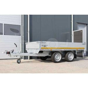 Eduard plateauwagen afmeting 260x150cm met 30cm aluminium borden, bruto laadvermogen 2000kg, laadvloerhoogte 63cm
