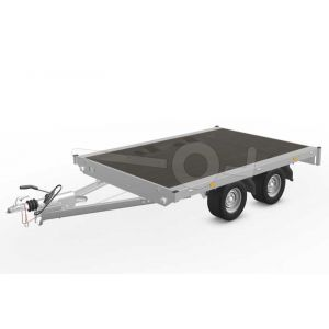 Eduard plateauwagen 2618-4-PV-075-56, Lxb 260x180cm, Bruto 750kg (295kg netto), Lvh 56cm, Vlak zonder borden, Tandemas geremd, Banden 195/55R10
