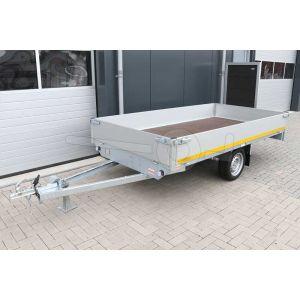 Plateauwagen 310x160, laadvermogen bruto 750kg (450 netto), laadvloerhoogte 63cm, 30cm aluminium borden, Banden 195/50R13, enkelas
