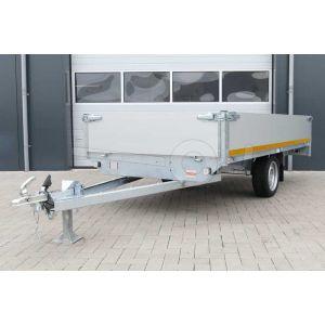 Plateauwagen 310x160, laadvermogen bruto 750kg (430 netto), laadvloerhoogte 63cm, 40cm aluminium borden, Banden 195/50R13, enkelas