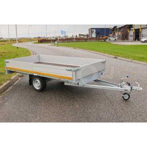 Plateauwagen 310x160, laadvermogen bruto 750kg (430 netto), laadvloerhoogte 72cm, 40cm aluminium borden, Banden 155R13, enkelas