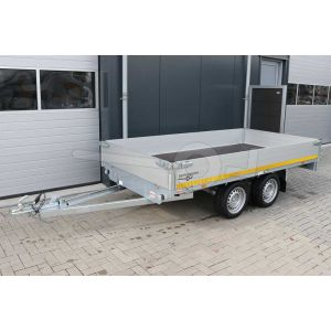 Plateauwagen 310x160, laadvermogen bruto (2x) 750kg (430 netto), laadvloerhoogte 63cm, 30cm aluminium borden, Banden 195/50R13, tandemas