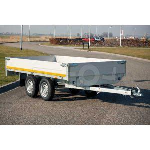 Eduard tandemas plateauwagen 310x160cm met 40cm borden, bruto laadvermogen 750kg ongeremd, laadvloerhoogte 63cm