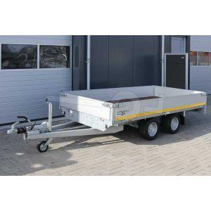 Plateauwagen 310x160, laadvermogen bruto (2x) 750kg geremd (320 netto), laadvloerhoogte 56cm, 30cm aluminium borden, Banden 195/55R10, tandemas
