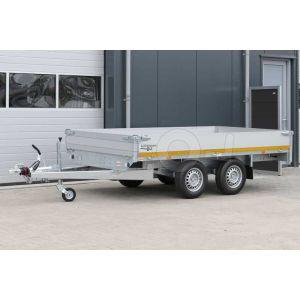 Plateauwagen 310x160, laadvermogen bruto (2x) 750kg geremd (320 netto), laadvloerhoogte 72cm, 30cm aluminium borden, Banden 155R13, tandemas