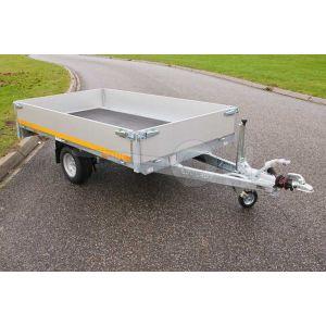 Plateauwagen 310x160, laadvermogen bruto 1000kg (670 netto), laadvloerhoogte 72cm, 30cm aluminium borden, Banden 155R13, enkelas