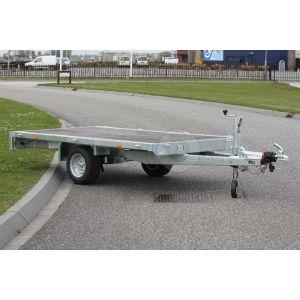 Vlakke enkelas plateauwagen Eduard 310x160cm met bruto laadvermogen 1350kg en laadvloerhoogte 56cm