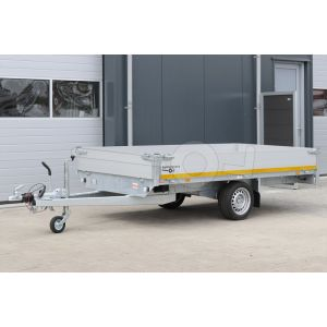 Enkelas plateauwagen Eduard met 30cm borden, afmeting 310x160cm, bruto laadvermogen 1500kg en laadvloerhoogte 63cm.