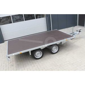 Vlakke plateauwagen Eduard zonder borden, afmeting 310x160cm, bruto laadvermogen 2000kg en laadvloerhoogte 63cm