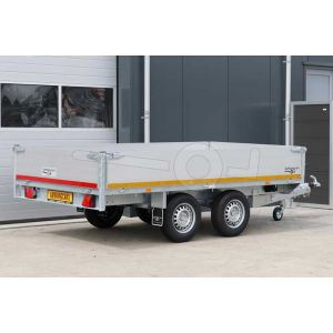 Eduard plateauwagen 310x160cm met 40cm hoge aluminium borden, bruto laadvermogen 2000kg en laadvloerhoogte 72cm