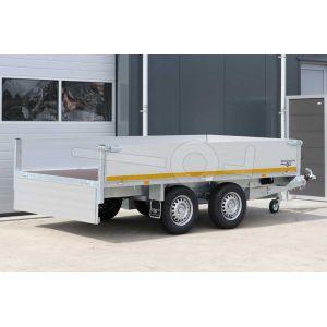 Eduard tandemas plateauwagen, afmeting 310x160cm met 40cm borden, laadvloerhoogte 72cm en bruto laadvermogen 2700kg
