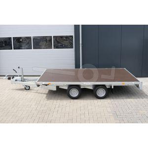 Plateauwagen 310x180, bruto 2000kg (1551 netto), laadvloerhoogte 56cm, geheel vlak (geen borden), banden 195/55R10, tandemas