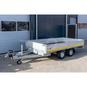 Plateauwagen 310x180, bruto 2000kg (1481 netto), laadvloerhoogte 56cm, 40cm aluminium borden, banden 195/55R10, tandemas